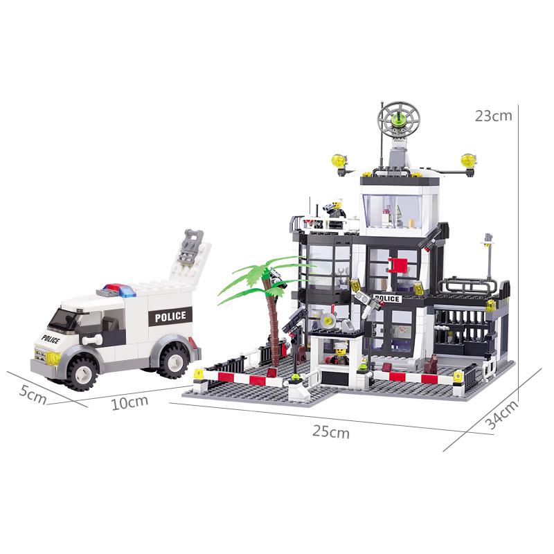 KAZI-Police-Station-Building-Blocks-Car-Styling-Building-Blocks-631-pcs-3D-Model-Blocks-Brinquedos-Playmobil (2)