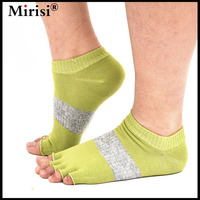 Mirisi Brand Women Toeless Yoga Socks Cotton Five Toe Design Anti Slip Half Toe Patchwork Colorful