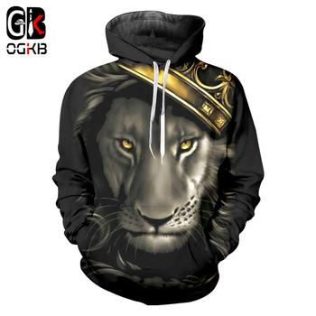 OGKB jesień zima Casual bluzy z kapturem kobiety mężczyźni fajne drukuj król lew z koroną 3d bluza z kapturem mężczyzna Fitness sznurkiem bluza z kapturem tanie i dobre opinie CN (pochodzenie) Pełne Na co dzień REGULAR Z okrągłym kołnierzykiem 3D Hoodies Brak STANDARD POLIESTER NONE Lion King 3d print Hoodies