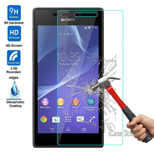 9H Tempered glass screen protector vaso FOR Sony Xperia E3 E4 E4G E5 M2 M4 M5 C3 C4 C5 T2 T3 sklo glas Film case cover