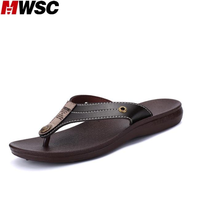 MWSC Male Fashion Casual Beach Slipper Shoes Men Leather Flip Flops Black Chinelo Brown Chinelo Sandalias Hombre