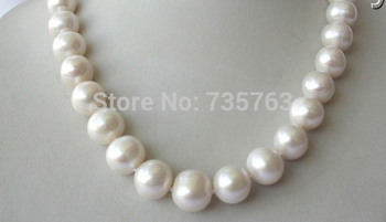 xiuli 0015093 stunning big 11-14mm round white freshwater cultured pearl necklace
