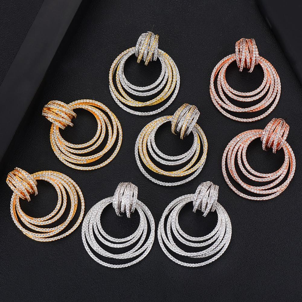 52mm Big Luxury Twist Circle Dangle Earrings For Women Wedding Cubic Zircon Crystal CZ Dubai Bridal Earring Fashion Jewelry 2019 in Drop Earrings from Jewelry Accessories
