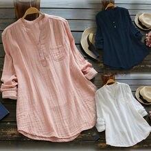 Женская блузка, плюс размер, летняя, одноцветная, v-образный вырез, блузки, свободные, свободные топы, туника, рубашки для женщин, s кнопка, длинный рукав, топы, Blusas Mujer