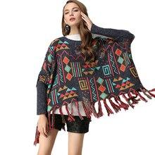 """Boho вязаный свитер женский пуловер свободные зимние нерегулярные кисточки рукав """"летучая мышь"""" этнические хлопковые винтажные цыганские свитера пуловер"""