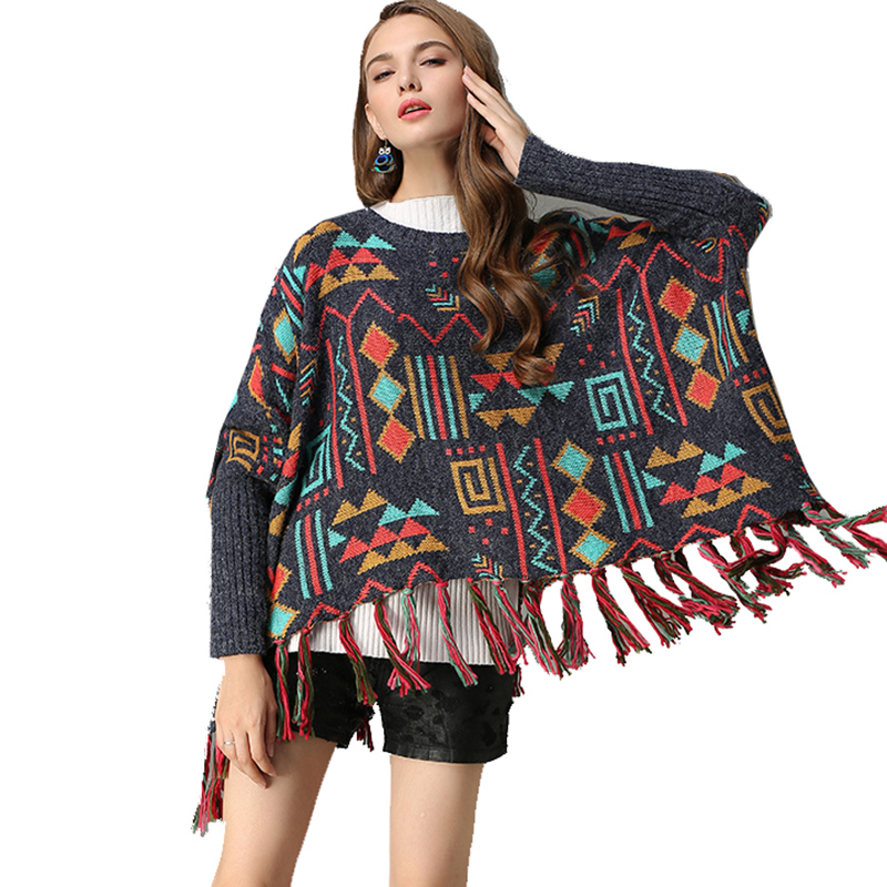 Boho Knitted Sweater Women Pullover Loose Winter Irregular Tassels Batwing Sleeve Ethnic Cotton Vintage Gypsy Sweaters Pullover