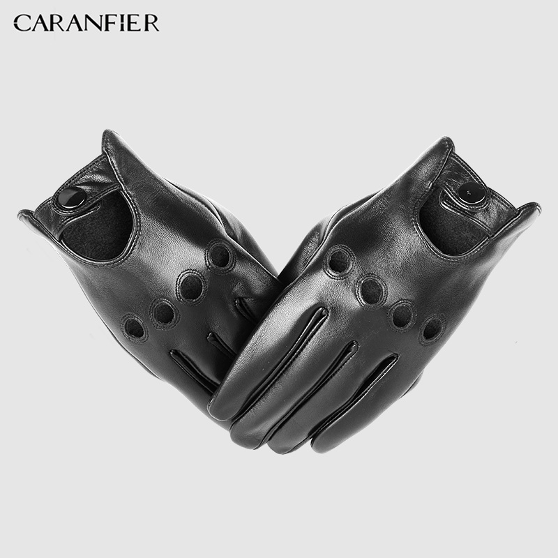 CARANFIER Mens Genuine Sheepskin Leather Gloves Driving Car Motorcycle Bike Goatskin Touch Screen Mittens Breathable Male Gloves