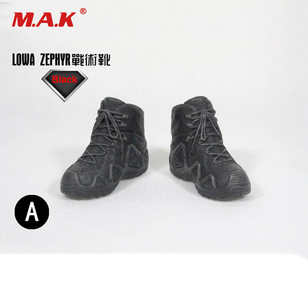Male 1/6 Black Military Shoes Tactical Boots Empty inside for 12 Man Action Figure Model