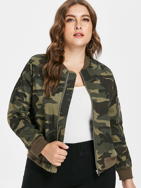 4c03933789a Wipalo Plus Size Women Stand Collar Camouflage Camo Zip Up Jacket Casual  Basic Jacket Spring Autumn Long Sleeve Outwear L-3XL