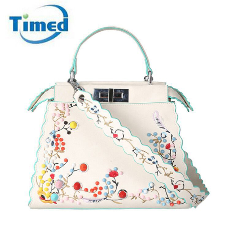 2017 Europe Style New Women PU Leather Embroidery Handbags Elegant Lady Shoulder Bags Fashion Rivets Totes
