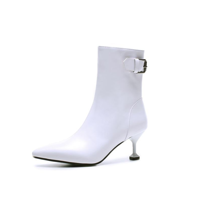 acad2c9a5660b5 Smirnova Haute Chaude La Éclair Boucle Femmes blanc Noir Cuir Stiletto Bout  Pointu Talons En Mode ...