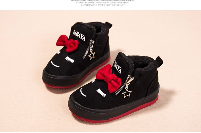 2017 Bowknot Kids Boots Girls Shoes Fashion Hot Warm Cotton Shoes Children Sneakers Winter Boots Cute Cartoon Smile Girls Boots 492 (14)
