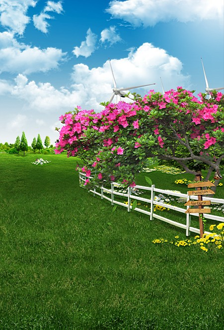 Kate Spring Scenic Photography Backdrops 10x10ft Blue Sky Flower Photo Backdrops Green Grassland Background For Photography blue sky чаша северный олень