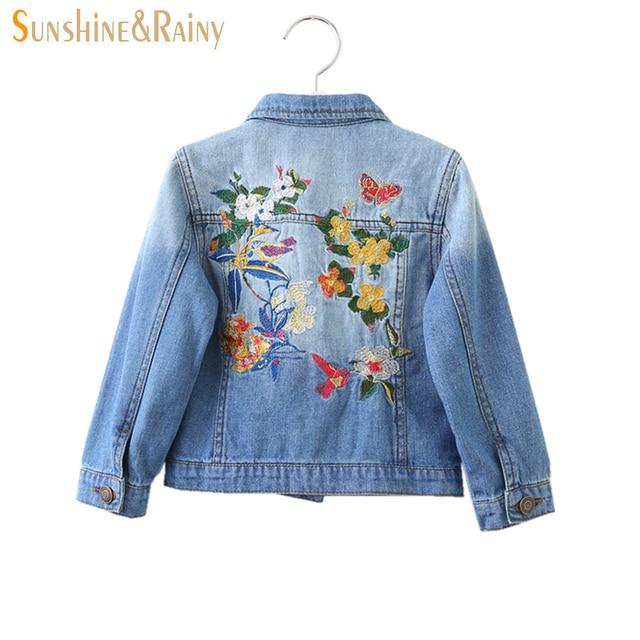 9d724f0a4156 Spring Autumn Kids Girls Denim Jackets And Coats Bird Flowers ...