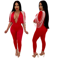 Red Long Sleeve Jumpsuits Deep V Neck Bodycon Sexy Full Bodysuit Casual Pearl Overalls Rompers Womens Jumpsuit 2019 New