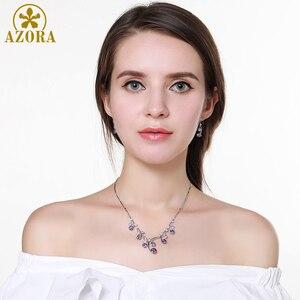 Image 4 - Женский комплект украшений AZORA, набор из ожерелья и сережек с фиолетовыми Фианитами, Свадебный комплект для помолвки, TG0265