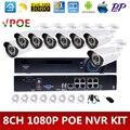 Kit POE NVR 8CH 1080 P Full HD Câmera de 2MP IP CCTV P2P 36 pcs IR LEDs Câmera de 2mp cctv kit sistema de câmera de segurança Ao Ar Livre À Prova D' Água