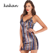 Kakan 2019 new womens sequin dress sexy V-neck color sequins striped strap purple red