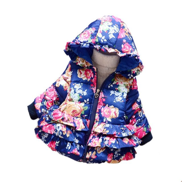 Invierno Del Bebé Muchachas de Los Cabritos Con Capucha Sudadera Con Capucha de Down Chaqueta de la Capa Floral Impreso Outwear