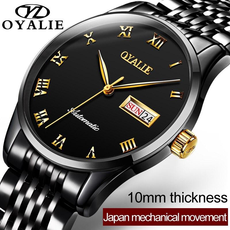 OYALIE Hommes D'affaires Montres Automatique Montre Mécanique Tourbillon Horloge En Acier Inoxydable Casual Montre-Bracelet relojes hombre