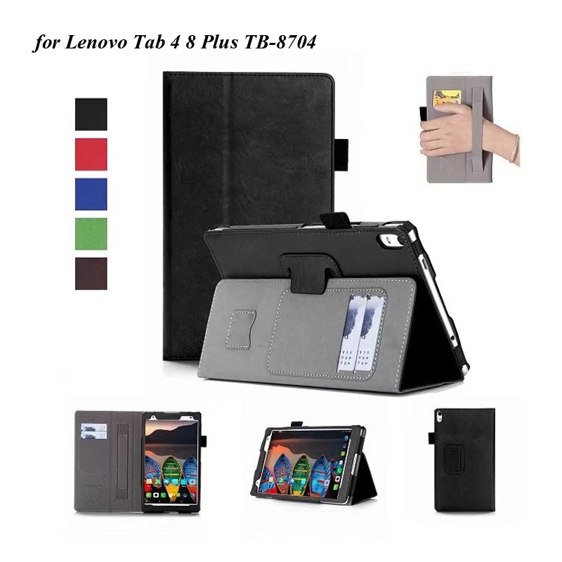 20PCS Lot Luxury Folio Handstrap Cover For Lenovo Tab 4 8 Plus TB 8704 Stand PU