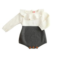Baby Rompers Knitted Ruffle Long Sleeve Kids Jumpsuits Cotton Baby Girl Romper For Autumn Casual Style