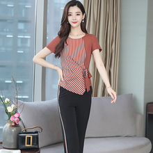 YICIYA Suit Female Trouser with Stripes Two Piece Set Outfits Tracksuits for Women 2019 Summer Wide Pants and Top Black Clothing