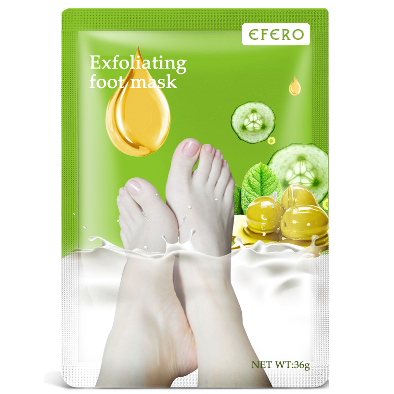 2pairs=4pc EFERO Socks For Pedicure Exfoliating Foot Mask For Legs Foot Scrub Olives Peeling Dead Skin Heels Feet Care Foot Bath