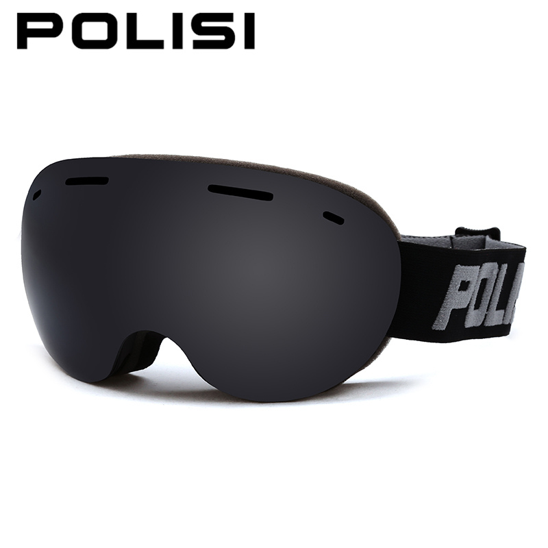 POLISI Men Women Double Layer Anti-Fog Gray Lens Snow Skiing oggles UV Protection Anti-Fog Ski Glasses Snowboard Skate Eyewear polisi men women snowboard ski goggles uv protection anti fog double layer lens esqui snow glasses outdoor sports skate eyewear