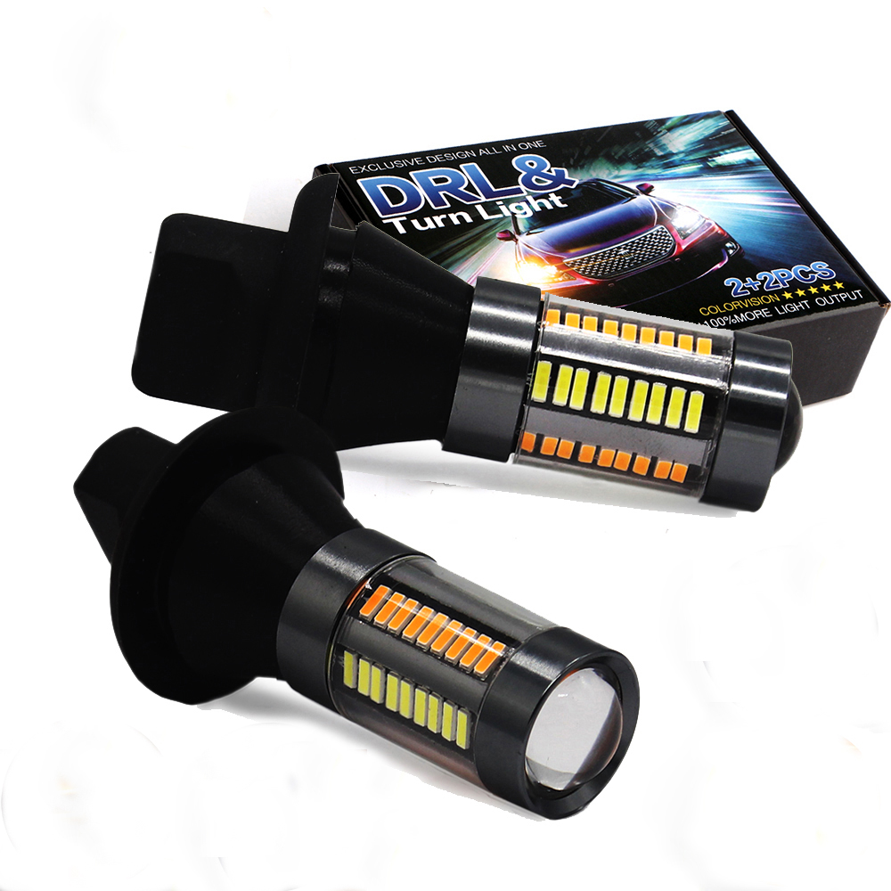 MODERN CAR S25 BA15s BAU15S 1156 66SMD Led T20 7440 7443 Daytime Running Light+Turn Signal Dual Color DRL LED Lamps Car Styling 1156 bau15s 7440 7443 2835 20w canbus error free car auto front side turn signal drl daytime running lights lamps bulbs g