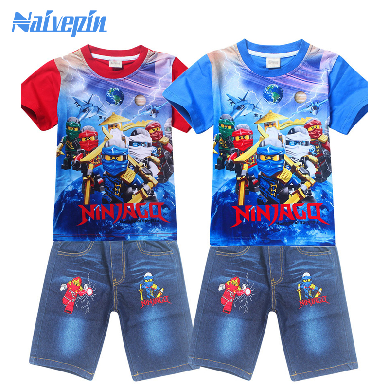 New Boys T-shirts for summer Kid's Cartoon Short T Shirts + Pants sportsuit tracksuit clothes clothing sets cotton cartoon t shirts
