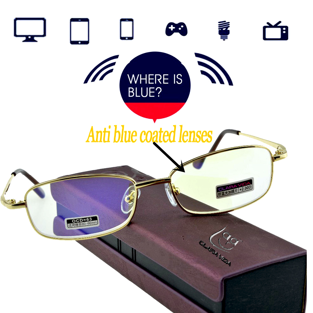 2019 = Clara Vida Anti Light Anti-fatigue Coated Lens Tv Computer Book Reading Glasses With Case +1 +1.5 +2 +2.5 +3 +3.5 +4