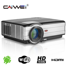 CAIWEI teléfono Móvil con proyector Proyector Wifi Android proyector full hd 1080 P 3d led TV celular proyectores escuela