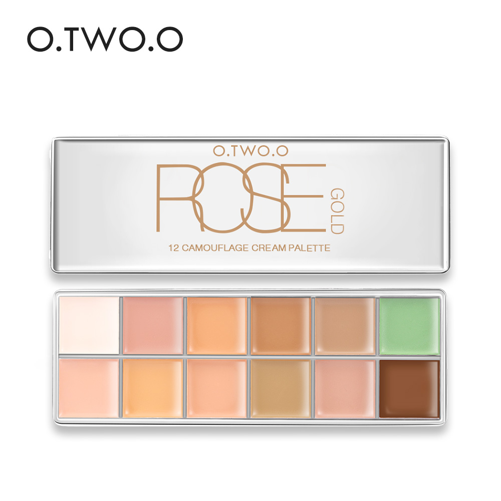 O.TWO.O 12 färger Concealer Palette Makeup Osynlig Pore Wrinkle Cover Concealer Foundation Brightener Makeup Full Cover