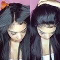8A Glueless Llena Del Cordón Pelucas de Cabello Humano Virginal Del Pelo Del Cordón Frontal peluca Recta Del Frente Del Cordón Brasileño Pelucas de Pelo Humano Para Las Mujeres Negras