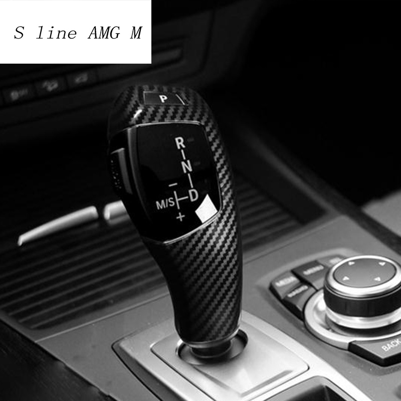 Carbon Fiber Gear Shift Knob Trim Cover For BMW X5 X6 E70 E71 F15 F16 (2 Model)