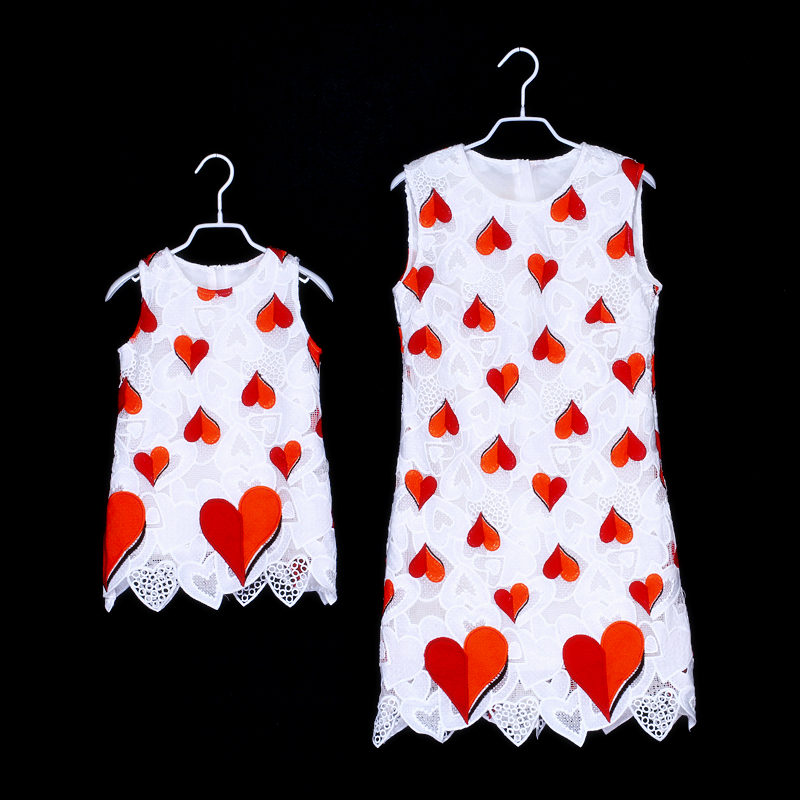 customized famiwhite heart embroidery princess dress sleeveless toddle girl clothes kids girls summer mother daughter lace dress