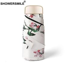 SHOWERSMILE Lightweight Folding Umbrella 5 Fold Uv Protection Pocket Parasol Print Women Black Coating Sun Rain Travel