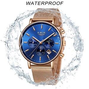 Image 5 - LIGE Frauen Mode Gold Blau Quarzuhr Dame Mesh Armband Hohe Qualität Beiläufige Wasserdichte Armbanduhr Mondphase Uhr Frauen