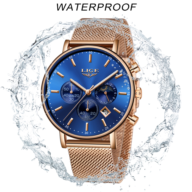 Image 5 - LIGE Women Fashion Gold Blue Quartz Watch Lady Mesh Watchband High Quality Casual Waterproof Wristwatch Moon Phase Clock Women-in Women's Watches from Watches
