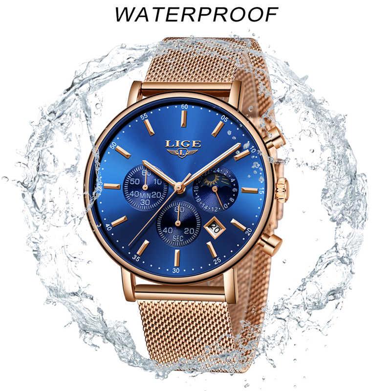 LIGE แฟชั่นผู้หญิงสีฟ้านาฬิกาควอตซ์สายนาฬิกาคุณภาพสูงกันน้ำนาฬิกาข้อมือดวงจันทร์นาฬิกาผู้หญิง