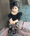 Новый 2017 Девочка Одежда Черный С Длинным Рукавом футболка + Leopard Брюки Новорожденных Девочек Комплект Одежды Newbron Детские одежда