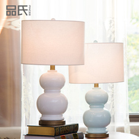 Remote Control Table Lamps Ceramic Table Lamps For Bedroom Bedside Lamp Gourd Blue Table Lamp E27