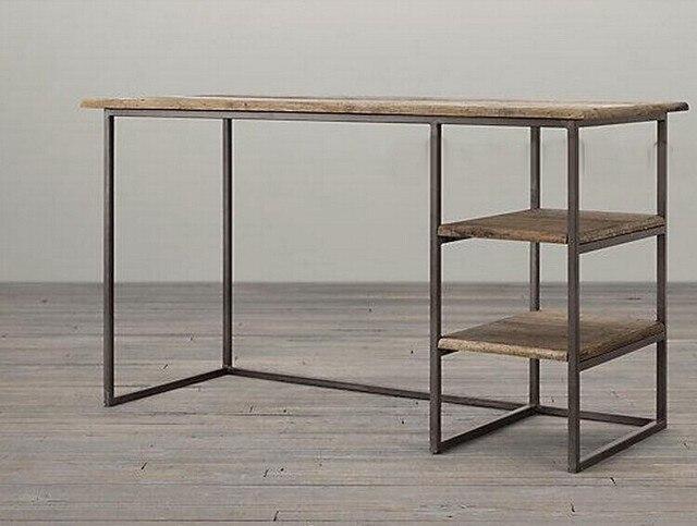 Bureau ordinateur portable tables forgé bois de fer petit bureau