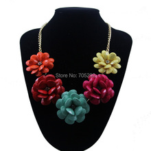 New Women Jewelry Bib Teardrop Flower Statement Fashion Necklace