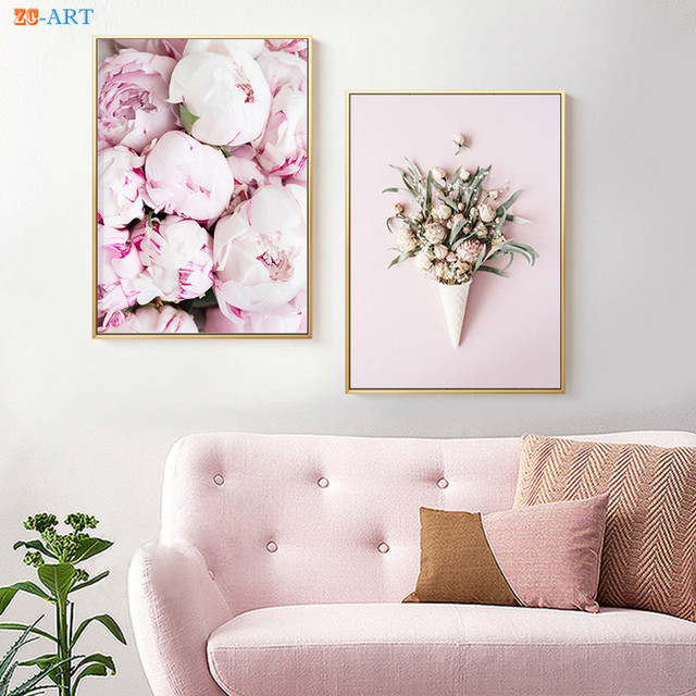 Minimalist Scandinavian Canvas Painting Pink Peony Rose Flower Posters And Prints Nature Wall Art Nursery Home