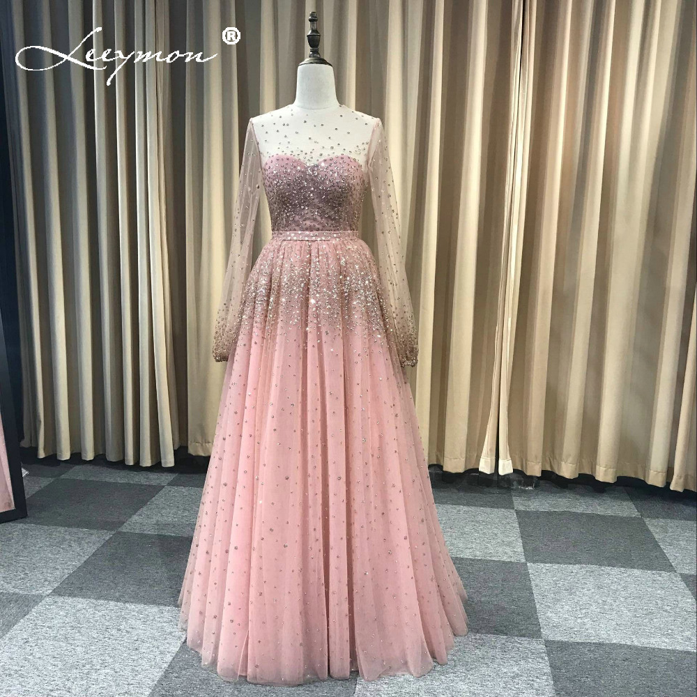 Leeymon Elegant Glitter Shiny Evening Dress A-Line floor length  High End Evening Party Dress robe de soiree Custom Made(China)