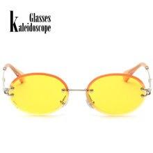 3adb19f572ba0 2018 óculos de Sol Sem Aro Oval Pequena Lente Dos Óculos De Sol Da Moda  Óculos de Sol Mulheres Retro Doce Cor Vermelha Sem Moldu.