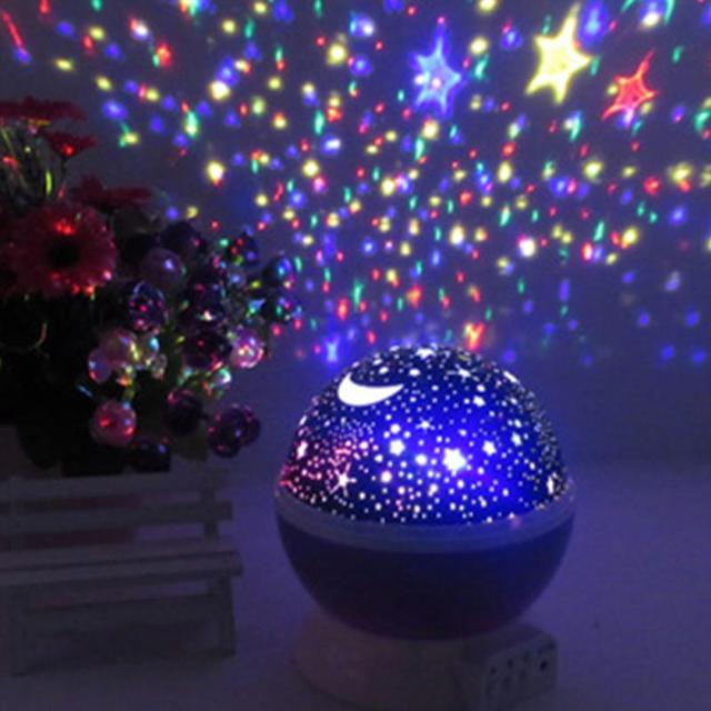 bedroom novelty night light projector lamp rotary flashing starry star moon sky star projector for kids - Star Projector Lamp