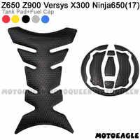 Juego de pegatinas protectoras para motocicleta Kawasaki, juego de pegatinas 3D con tapa de tanque de combustible y Gas para modelo Z650 Z900 Versys X300 Ninja650